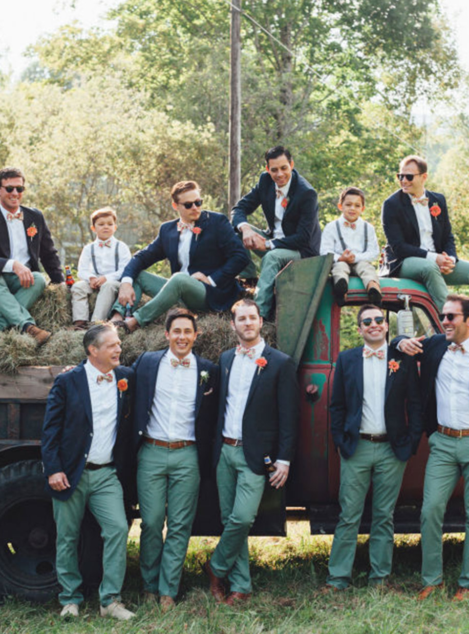 The groom and groomsmen can make a statement with fabric choice