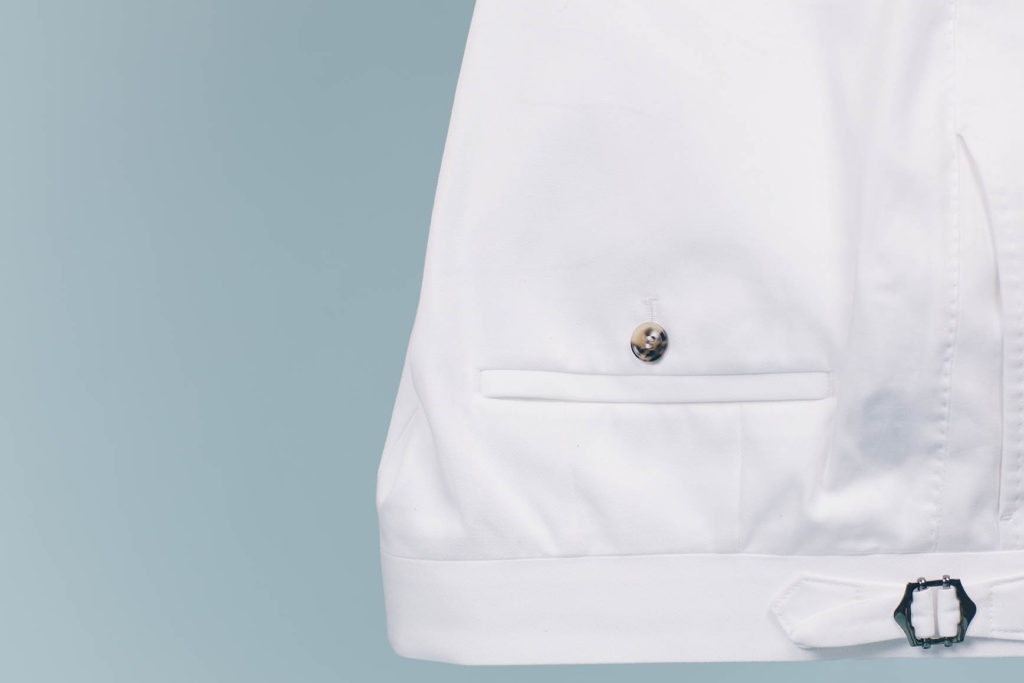 Crisp white pants are ideal for business casual dressing