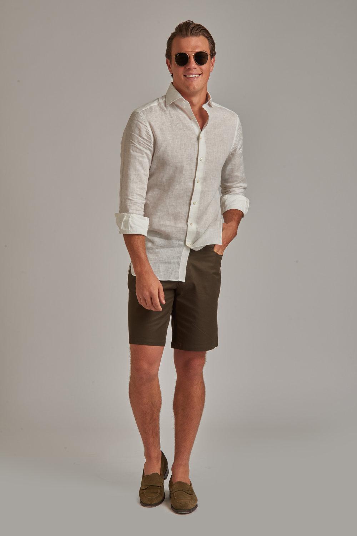 Loro Piana Dark Olive Cotton Shorts
