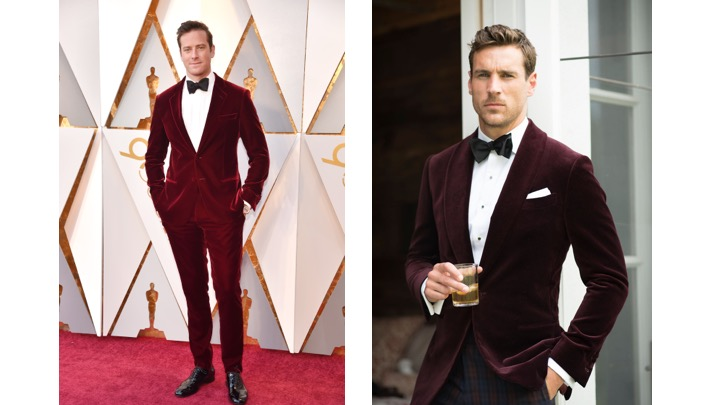 Armie Hammer in Giorgio Armani                                             Knot Standard Holland & Sherry Merlot Jacket