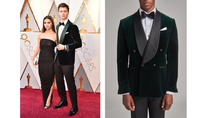 Ansel Elgort in Tom Ford                                                       Holland & Sherry Forest Tuxedo Jacket